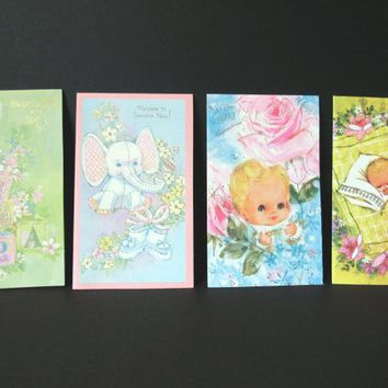 Vintage Baby Congratulations, Baby Shower Gift Cards, Cards with Glitter