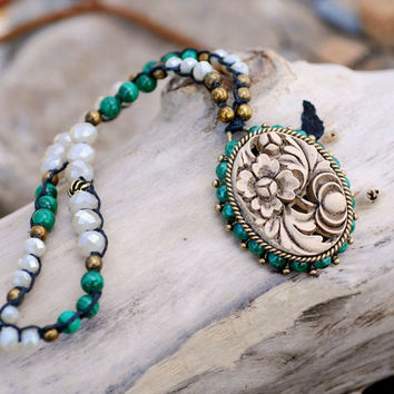 Quan Yin, Crochet Necklace, Malachite Necklace, Hand Knotted Necklace, Ivory Necklace, Gemstone Necklace, Beaded Necklace, Yoga N1360