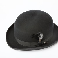 New Mens 100% Wool Black Derby Bowler Hat in Hat Box