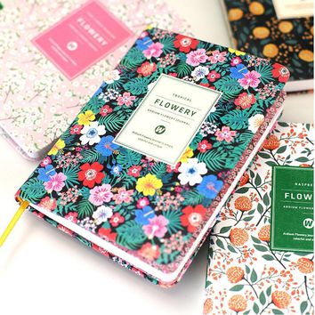 Korean Cute PU Leather cover Floral Flower Schedule Book Diary Weekly Monthly Planner Organizer Notebook Kawaii Calendar 01605