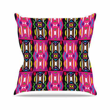 "Miranda Mol ""Lets Party"" Pink Black Outdoor Throw Pillow"
