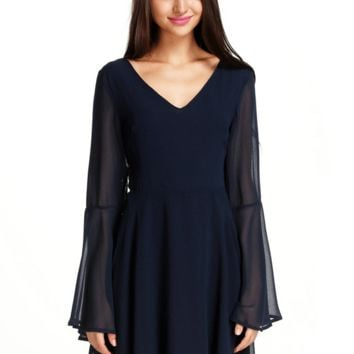 V-Neck Bell Sleeve with Back Keyhole Cut-Out Chiffon Mini Dress