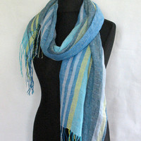 Linen Scarf Washed Striped Turquoise Azure Blue Green Salad Yellow Gray