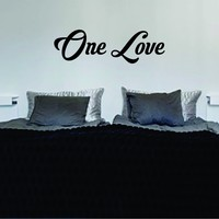 One Love Version 3 Decal Wall Vinyl Sticker Art Quote Bob Marley Rasta Reggae Jamaica