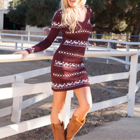 Traditional Holiday Sweater Dress - Wine