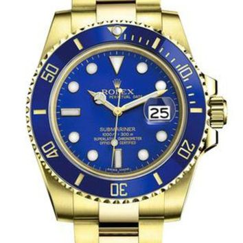 GJ1A Rolex tide brand fashion men and women fashion watches F-SBHY-WSL Gold + Blue Case + Blue Dial