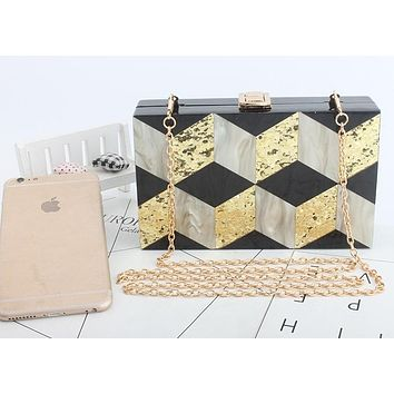 Black and Marble 3-D Chevron Acrylic Clutch