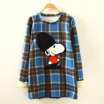 Blue  Snoopy Print Plaid Sweatshirt