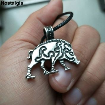 Nostalgia Irish Knots Celtics Pig Animal Pendant Wicca Pagan Amulets And Talismans Necklace Punk Jewelry Collares