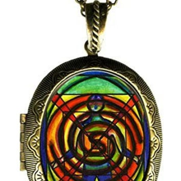 "Orgone Energy Healing Power Huge 2 1/2"" Locket Pendant Gold Bronze"