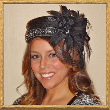 Reconstructed Women's Vintage Black Glazed Sisal Pill Box Hat in a Textured Weave 1920's Gatsby, Downton, Boardwalk Empire or Flapper style