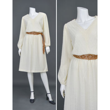 70s Dress Bohemian Dress Cream Peasant Dress Textured Knit Dress V Neck Long Puff Sleeve Blouson Midi Dress Chevron Dress 1970s Boho Wedding