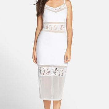 French Connection 'Lucky Layer' Lace Inset Body-Con Midi Dress | Nordstrom