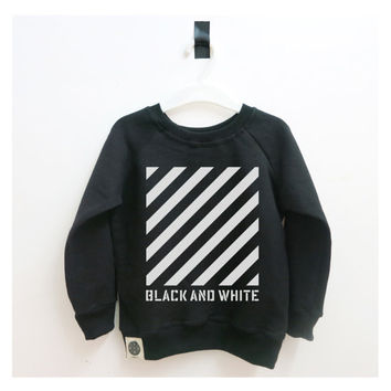 "SALE Kids Top, Striped Shirt with a ""BLACK & WHITE"" Typography Print, Sweater For Baby, Toddler and Kids, Hipster Kids Shirt, Cool Clothes"