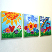 You Are My Sunshine, Set of 3 8x10 acrylic canvases, wall art for girls rooms or nursery decor