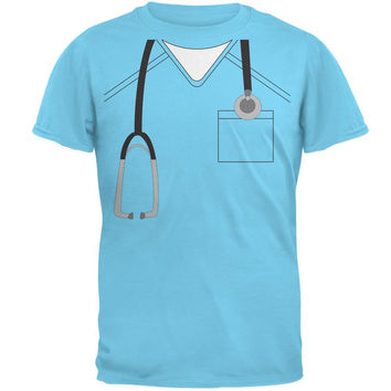 Halloween Doctor Scrubs Costume Sky Adult T-Shirt