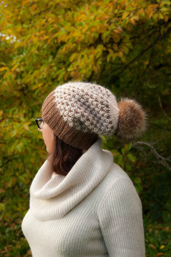 Brown Cream Knitted Beanie Hat with Fur from milazshop on Etsy a91e0839683