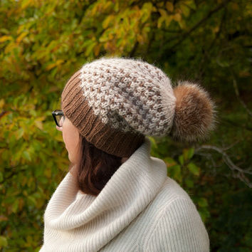 Brown Cream Knitted Beanie Hat with Fur Pom Pom Slouch Hat Wool Ski Hat Women Girls Chunky Knits Christmas Present for Her Cute Hats by Mila