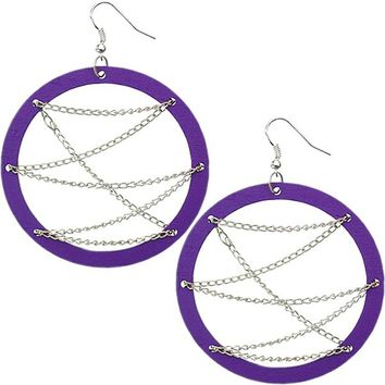 Purple Wooden Zigzag Chain Hoop Earrings