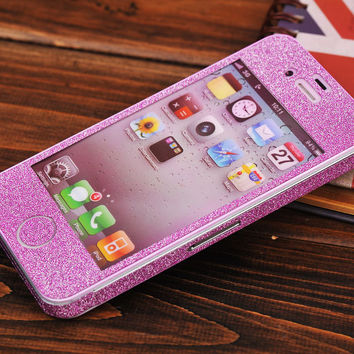 Sparking Pink Shiny Rhinestone Fashion Sticker For iPhone 4S/5