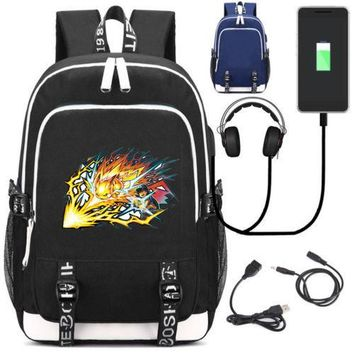 Anime Backpack School New kawaii cute Pocket Monster Gengar Pikachu School Backpack External USB Charge Laptop Backpacks Headset port Travel Shoulder Bags AT_60_4