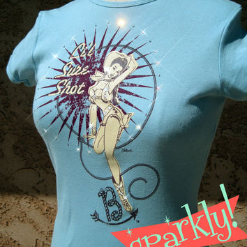 SPARKLY Rhinestone Tee Pinup Cowgirl Rodeo Shooter Western Bling T-Shirt Ladies Womens