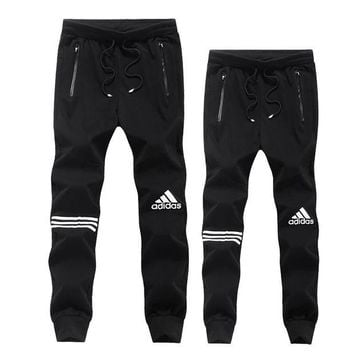 ADIDAS Stylish Women Men Leisure Print Pants Trousers Sweatpants Black I