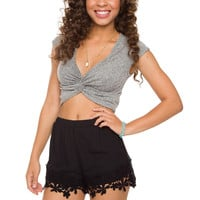 Janice Lace Shorts - Black