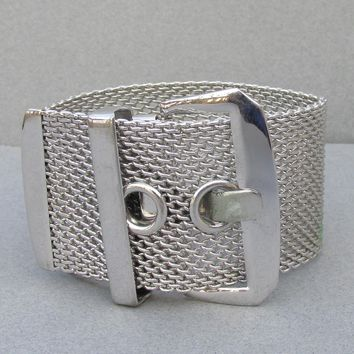 "Sarah Coventry ""Continental"" Wide Vintage Silver Tone Mesh Bracelet"