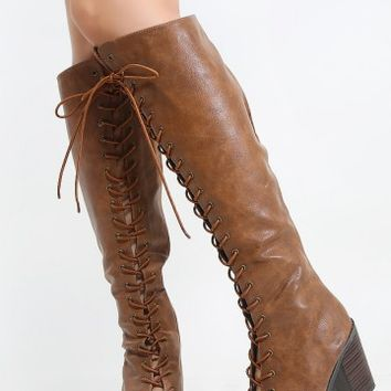 Breckelle's Tina-14 Lace Up Chunky Heel Boots | MakeMeChic.com