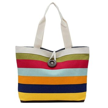 Hight Quality Lady Colored Stripes Shopping Handbag Shoulder Canvas Bag Tote Purse Free Shipping Dropshipping Aug 16