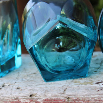 4 turquoise old fashioned glasses, blue Capri Colonial by Hazel Atlas -Hazel-ware Gothic bar cart glasses, turquoise whiskey/ scotch glasses