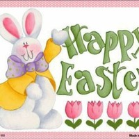 Happy Easter Bunny Pink Frame Sign