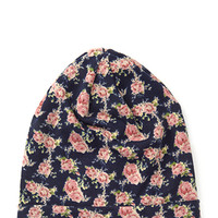FOREVER 21 Slouchy Floral Print Beanie Navy/Multi One