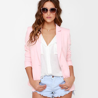Pink Single-Button Casual Coat