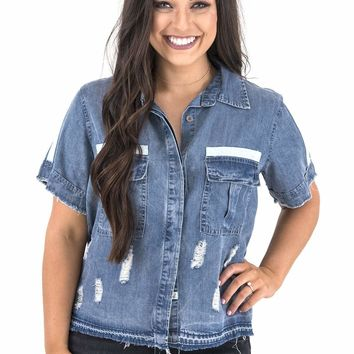 Women's Boxy Cropped Denim Shirt with Lace-Up Back