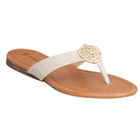 Gold Emblem Sandal in Beige