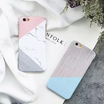 Geometric Marble Hard Phone Case for Iphone 7 Case for iPhone 7 Plus 6 6s Plus Covers Marble Matte Couples Phone Covers