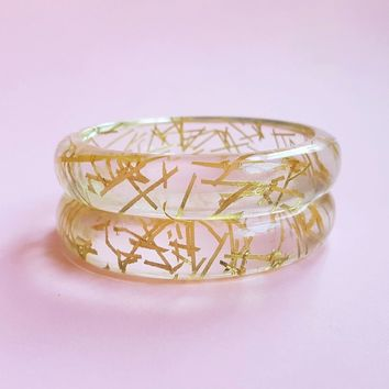 Grace Lucite Gold thread Bangle by Bow & Crossbones