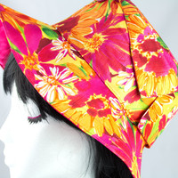 "Silk Wide Brimmed Summer Sun Hat - Pinks Orange Refreshing Floral Silk - Floppy Hat - Size 22"" Hat"