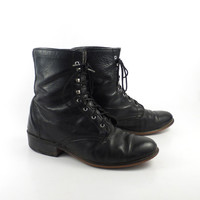Roper Boots Vintage 1980s Laredo Distressed Leather Black Granny Lace up Packer Women's size 8 1/2
