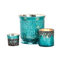 Audrey Set of 3 Votives Antique Turquoise Artifact,Silver