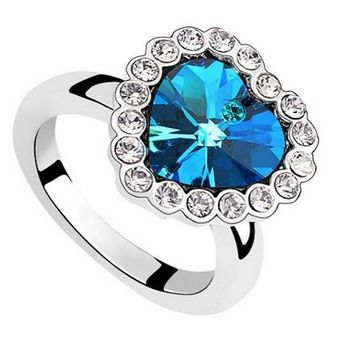 Fashion Blue Sapphire Heart Plated Silver Ring