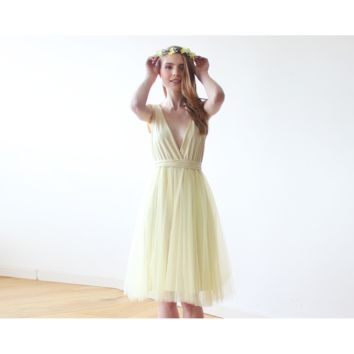 Yellow Tulle Midi Dress 1128