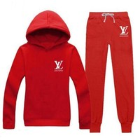 ONETOW LV Casual Print Hoodie Top Sweater Pants Trousers Set Two-piece Sportswear     woman