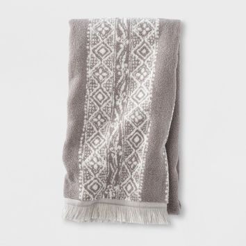 Stamped Geo Bath Towels Gray - Threshold™