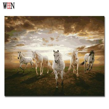Five Horses Oil Painting Coloring By Number Home Decor DIY Hand Painted Wall Pictures By Numbers Canvas Art Poster Quadros