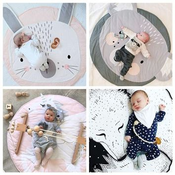 90CM Baby Round Carpet Rugs Mat Kids Play Game Mats INS Cotton Unicorn Crawling Blanket Floor Carpet For Kids Room Decoration