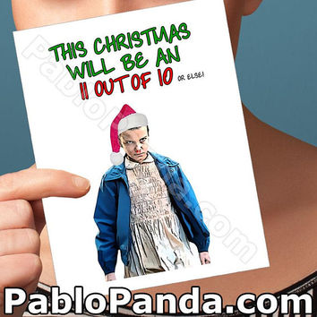 Holiday Cards | Eleven | 11 Stranger Things Xmas Greeting Card Merry Christmas Card Girlfriend Card Boyfriend Card Boyfriend Gift Husband