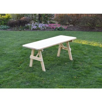 "A & L Furniture Co. Pressure Treated Pine 6' Traditional Table Only - Specify for FREE 2"" Umbrella Hole  - Ships FREE in 5-7 Business days"